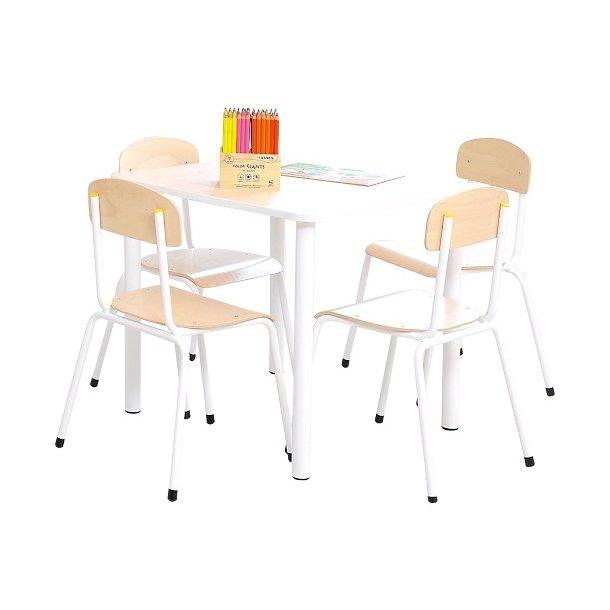 Elevbord og stoletil institutioner - sæt med 1bord og fire stole