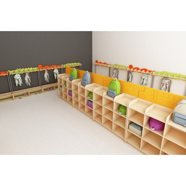 Vellidte Reol til opbevaring af skoletasker, Sokkel - Reol til skoletasker UD-02